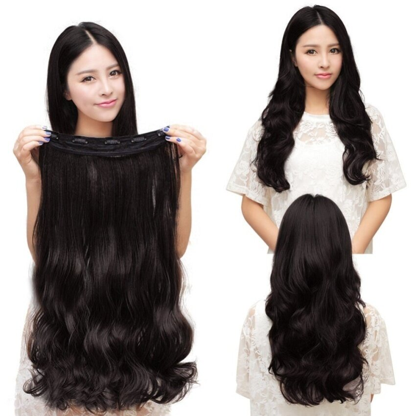 leadingtrust One Piece Clip 5 Clips In Synthetic Human Hair Extensions Long Wavycurly Hair Black - intl