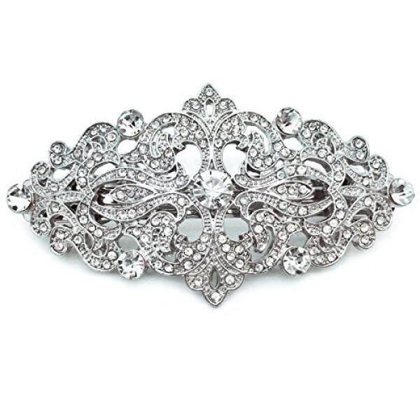 Gemerlapan Pengantin Hiasan Pernikahan Victoria Aksesori Kristal Lapis Rodium Jepit Rambut 3.25 Inches-Intl