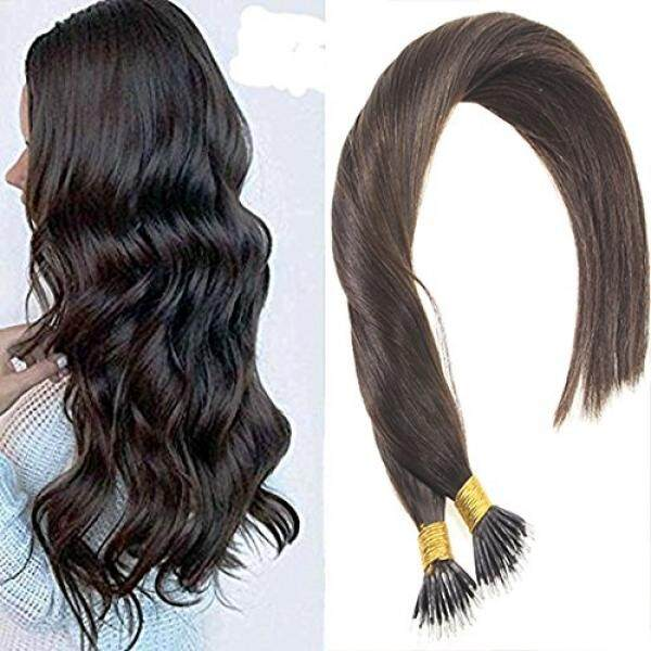 Sunny 50gram Per Pack Darkest Brown 100% Remy Nano Ring Hair Extensions Color #2 Human Hair Extensions High Micro Loop Nano Ring Brazilian Hair Extensions Soft Straight Hair 24inch - intl