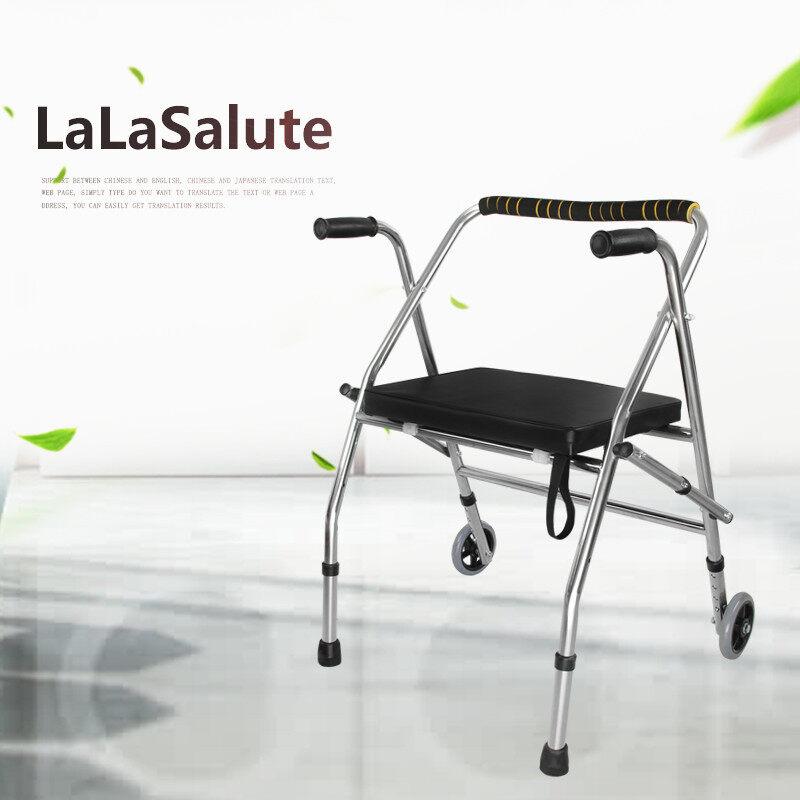 Orang Tua Walker Sabuk Anti Karat Roda Kursi Lipat Kursi Roda Walker Empat Sudut Tangan Battle Berjalan Membantu Mobilitas bantuan Walker Bingkai untuk Lansia Senior, wanita Hamil, Cacat Pasien Dll. -Internasional