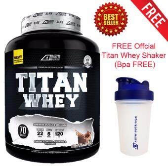 Titan Whey Halal 2.1kg/4.63lbs,Whey Isolate With 22g Protein, 70 Servings - Fast Muscle Recovery (Chocolate Milkshake) + FREE Official Titan Whey Protein Shaker/Blender/Mixer 400ml by Agym Nutrition