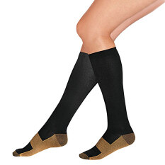 Unisex Miracle Copper Anti-Fatigue Compression Socks Soothe Tired Achy Black By Miss Lan.