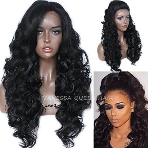 Vanessa Queen Rambut Hitam Panjang Bergelombang Renda Depan Sintetis Wig  Tahan Panas Rambut Rambut Palsu untuk 2bc9eeb348