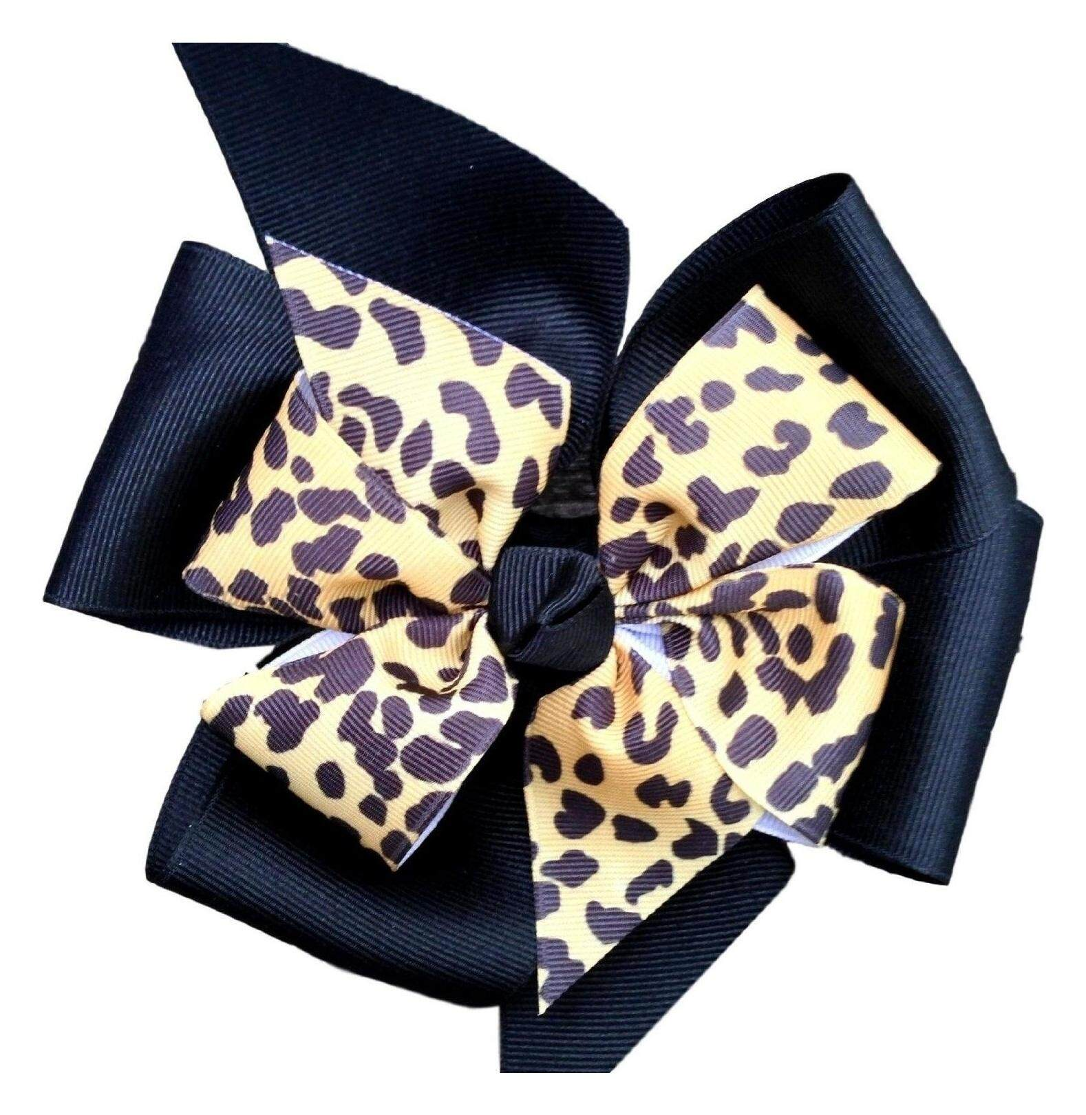 55d4705b41d9 Victory Bows Large Black Four Loop Bow with Mini Leopard Flower- The Monica  Leopard-