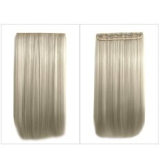 Whyus-Fashion 64cm Clip-in Hair Extension Matte Long Straight Hair Pieces Synthetic Wig (Beige)