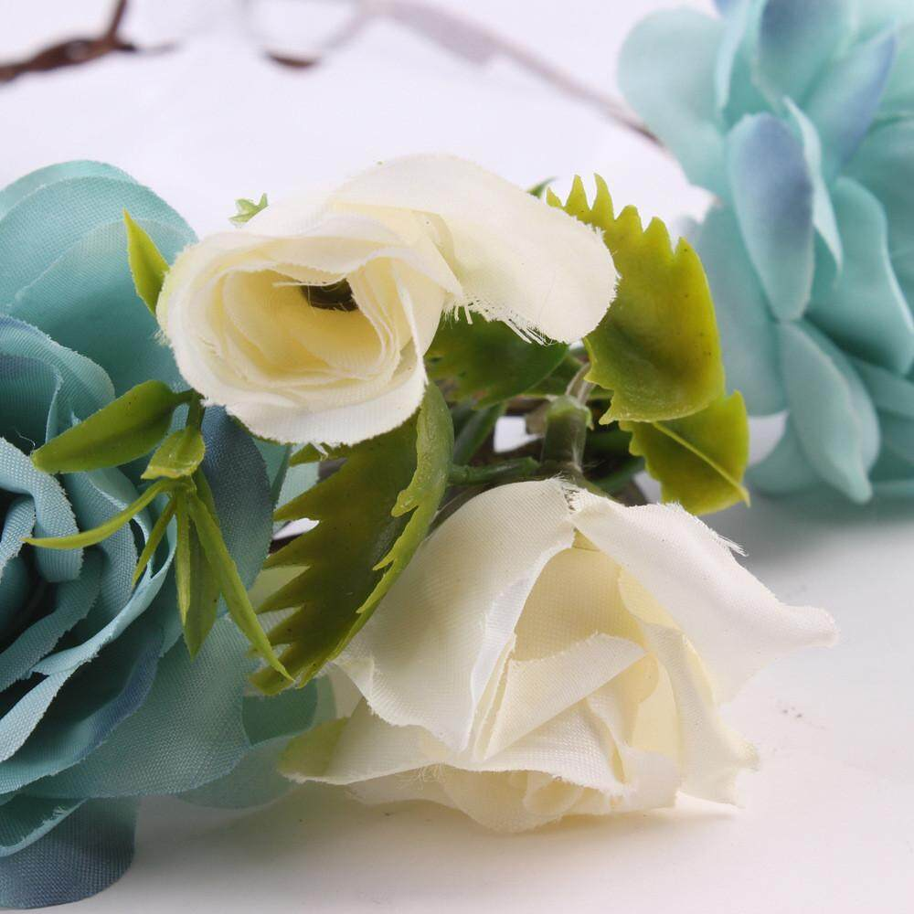 Flower crowns for women blue price in singapore women handmade flower hairband crown wedding wreath bridal headdress intl izmirmasajfo