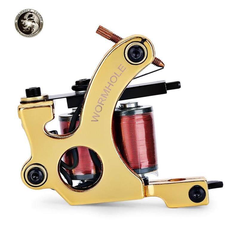 WORMHOLE TATTOO Iron 10 Wrap Coils Machine Liner Shader (Gold)
