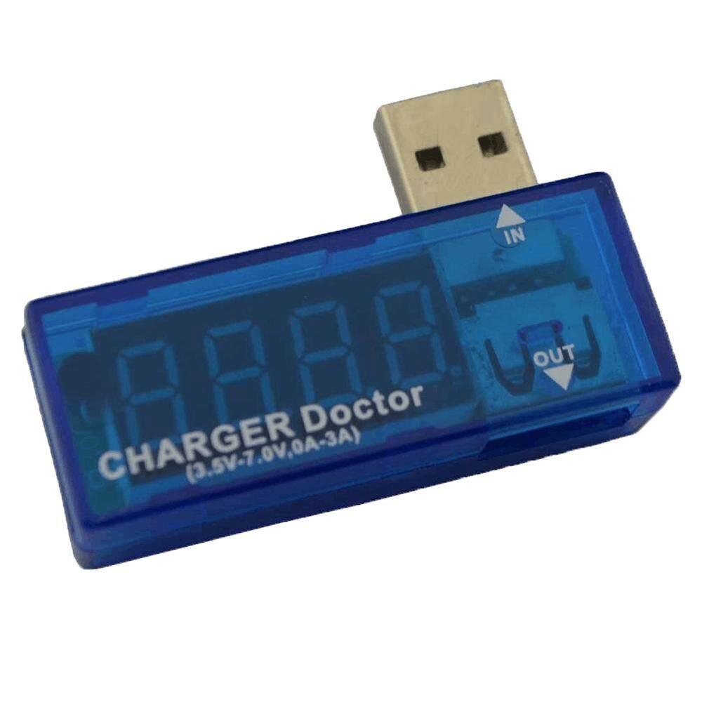 Wuzeyu USB Mini Pengisi Daya Doktor Alat Uji Tegangan Uji Alat Amp Volt Pembaca, Biru-Internasional