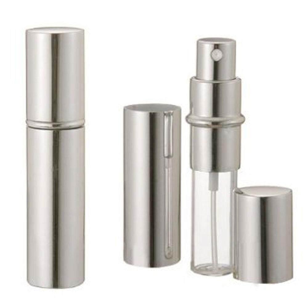 Yesefus 5 Ml Uniseks Perjalanan Perfume Aftershave Atomizer Botol Semprot Pompa, Perak-Internasional