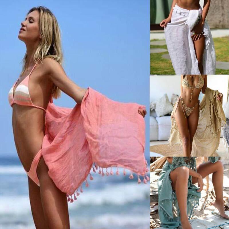 58bad94fb2 China. Fashion Women Swimsuit Cover Up Mesh Transparent Beach Dress Elegant  Swimwear tassels Sheer Ladies Skirt Sarong