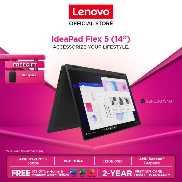 Lenovo IdeaPad Flex 5 14ALC05 82HU007RMJ/82HU007SMJ A 14|RYZEN 5|8GB||512GBSSD|W10H|OFF.H&S|2YRPC|BACKPACK Malaysia