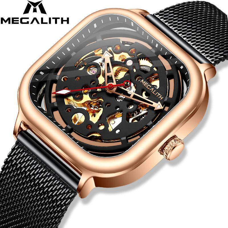 MEGALITH 2019 Mens Automatic Mechanical Watch Luminous Skeleton Hollow Wristwatch Sport Waterproof Steel Mesh Gents Wristwatches Clock Malaysia