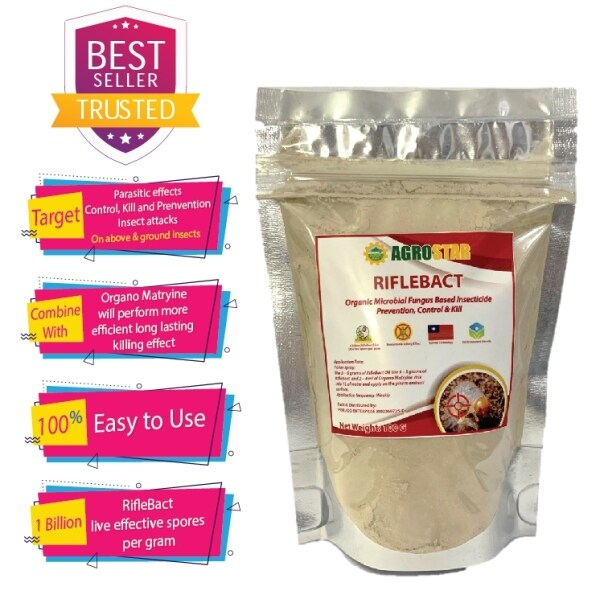 RIFLEBACT - Organic Microbial Fungus Based Insecticide - Parasitic effects Control, Kill and Prevention Insect attacks such as cabbage caterpillar, diamondback moth , leafhoppers , whiteflies , grubs and others 100 Grams