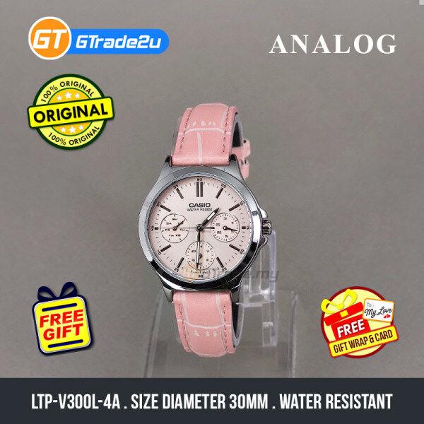 Casio Standard Women LTP-V300L-4A LTPV300L-4A Analog Watch Pink Leather Band jam tangan wanita . casio watch . casio watch women Malaysia