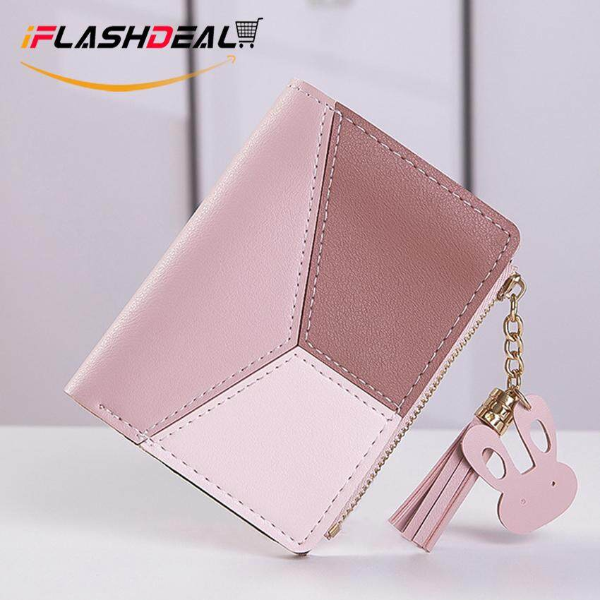 727ed314c10 iFlashDeal Fashion Woman Wallet Coin Purse Card Holder Contrast Color Short  Clutch Handbag Purse PU Leather Money Bag with Tassel for Girls Ladies ...