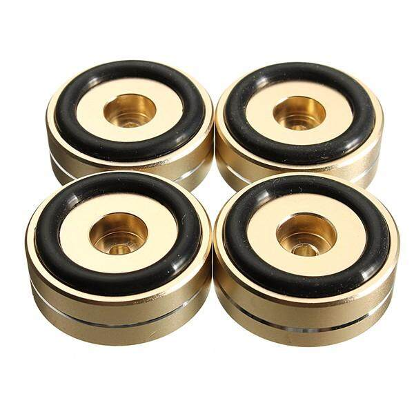 LEORY 4PCS Stainless Steel Speaker Spikes Stand Foot Turntable Isolation  Feet Pads Cones Base Mat For Audio Sound Turntable