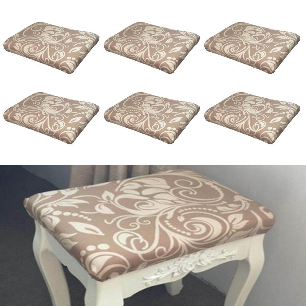 Perfk 6Pcs Stool face dust cover dressing table stool set Chinese style Flower 3