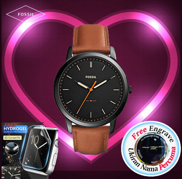 [FREE ENGRAVE]Original Fossil Grant The Minimalist Slim 44mm Brown Leather Mens Watch with 2 years warranty FS5305 Malaysia