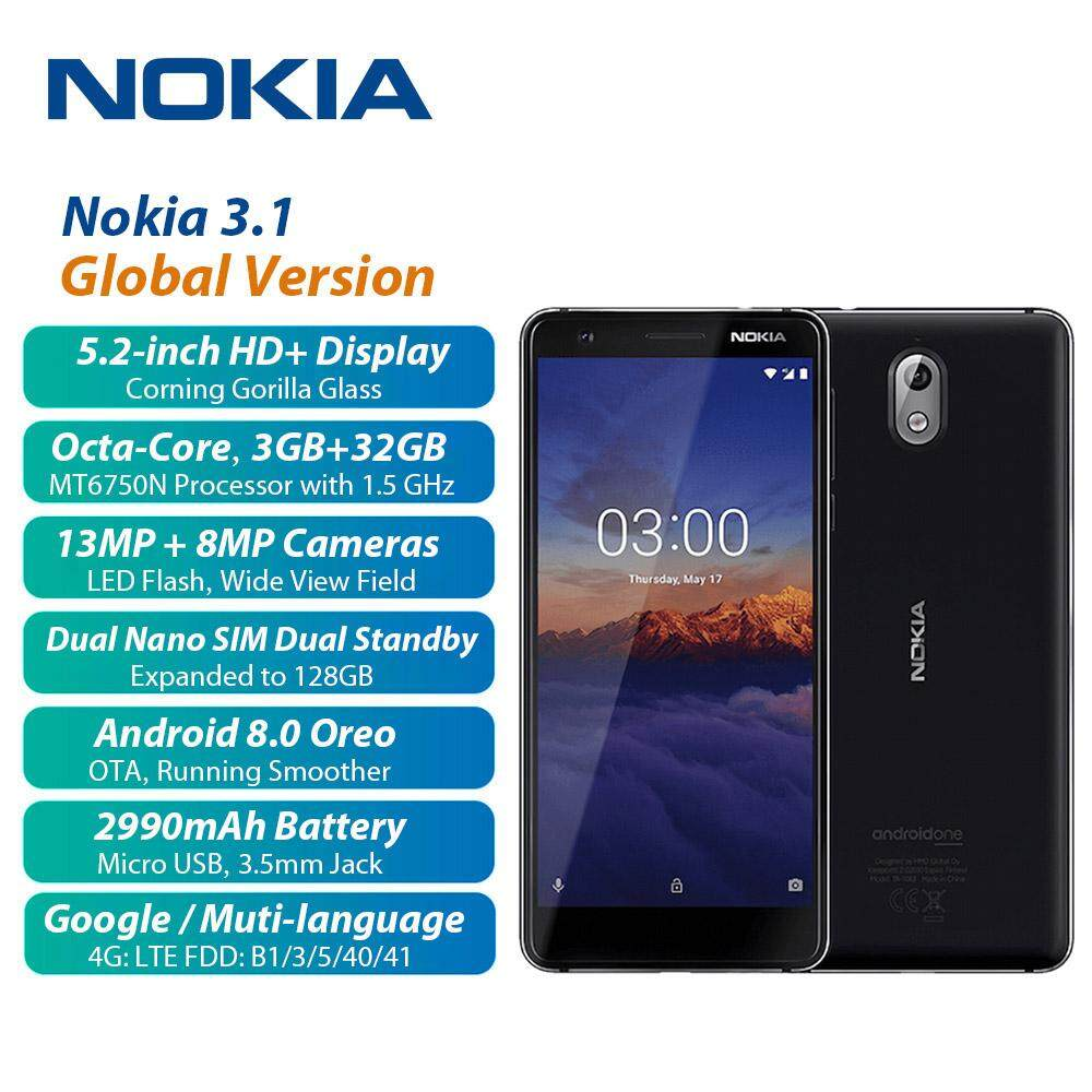 Toàn Cầu Phiên Bản Nokia 3.1 Điện Thoại Di Động 3GB + 32GB 13MP + 8MP Máy Ảnh MT6750N Octa...