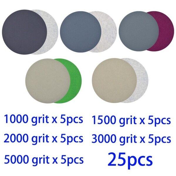 25PCS 4 Inch 1000-5000 Grits Hook & Loop Sanding Disc Sandpaper Wet/Dry Use