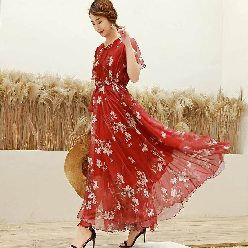 409986f31a 2019 New Style Summer Long Skirts Female Popular Very Fairy of Super-Long  Anklet Dress