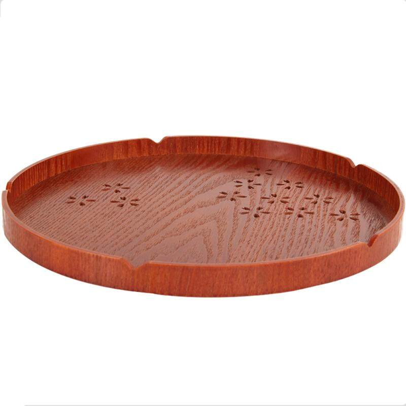 Solid Wood Round Tray Japanese Cherry Tray Home Hotel Tableware Plate Fruit Snack Tray