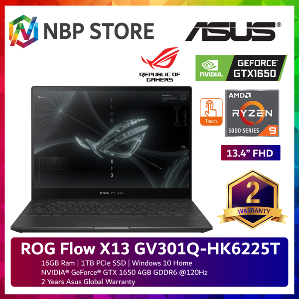 Asus ROG Flow X13 GV301Q-HK6225T 13.4 FHD Touch Gaming Laptop ( Ryzen 9 5900HS, 16GB, 1TB SSD, GTX1650 4GB, W10 ) Malaysia