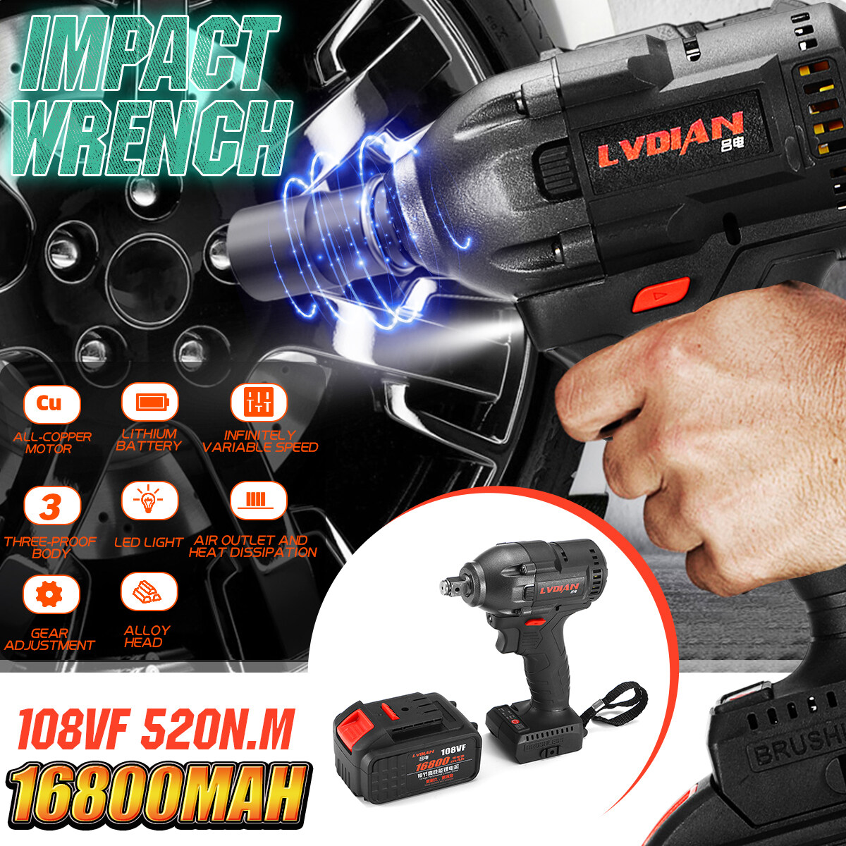 108VF Brushless Cordless Impact Wrench 1/2 Driver 1x Li-ion Battery 16800mAh