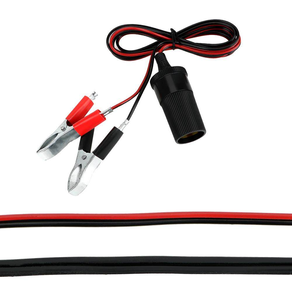 12V Universal Car Auxiliary Cigarette Lighter Socket Connector Battery Crocodile Clips Power Adapter Extension Cord