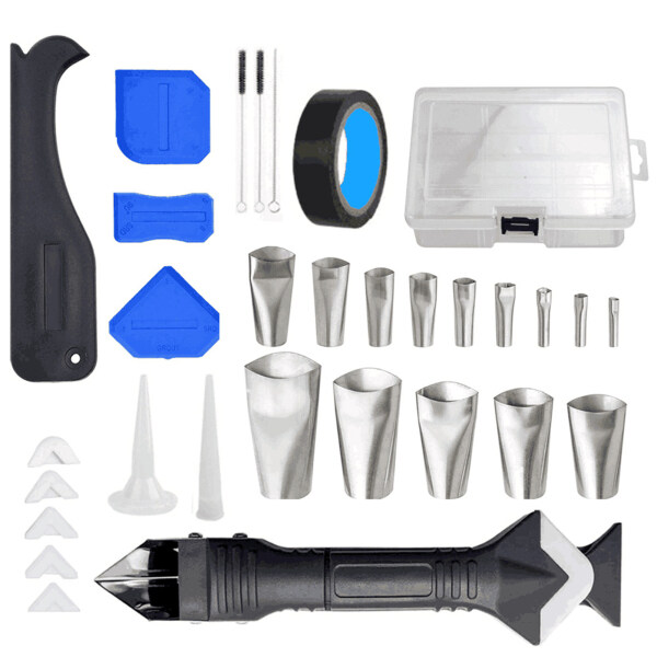 KKmoon 32Pcs Caulking Finishing Tool Kit Multifunctional Caulking Finisher Tools Kit with Nozzle Applicator / 3-in-1 Stainless Steel Head Scraper / Caulking Smoother / Cleaning Brush for Kitchen Bathroom Window Sink Joint