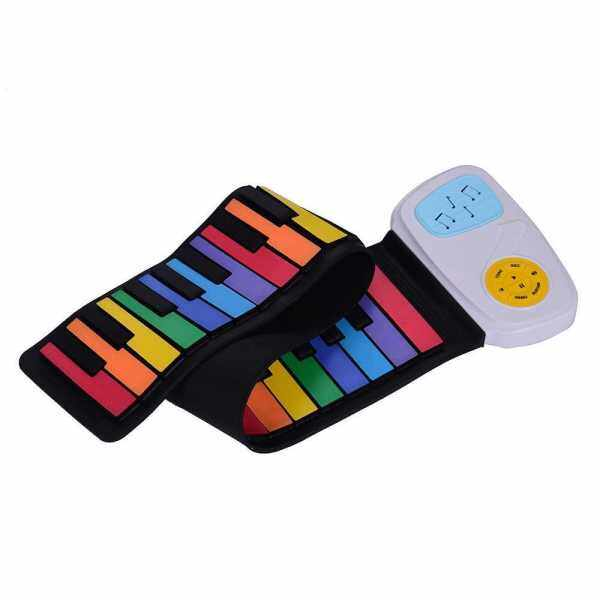 49 Keys Rainbow Roll-Up Piano Electronic Keyboard Colorful Silicon Keys Built-in Speaker Musical Education Toy for Children Kids () Malaysia