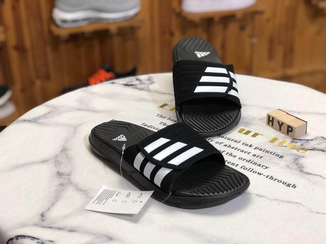 2019 Adidas_slippers Beach Vacation Colorful striped black men's fashion flip flops