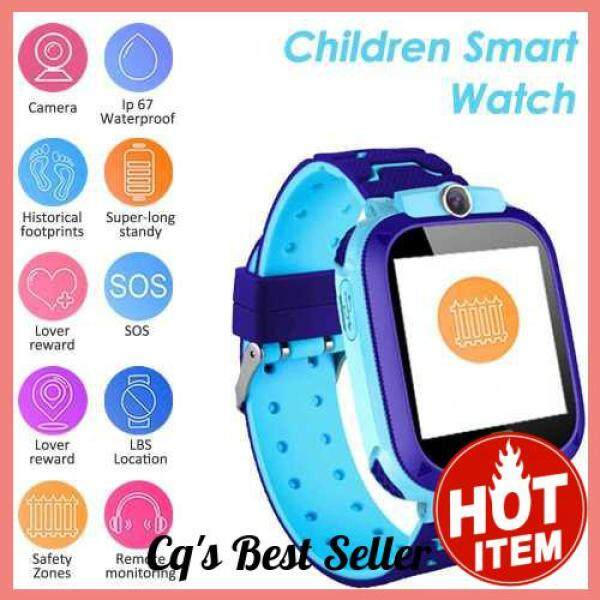 [CAI QI] S12B Multifunctional Kids Children Smart Watch Tracker Intelligent Band Sensitive 1.44 Touch Screen Compatible for Android/ IOS Phone System Chat Call Camera Alarm Clock LBS Positioning for Present Gift (Blue) Malaysia