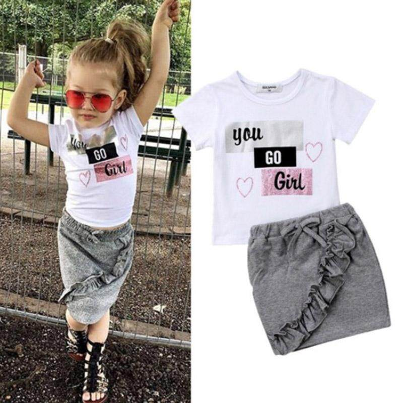 47a728371 Summer Baby Girl Casual Short Sleeve Letter Print T-shirt Mini Solid Skirt  with Bow