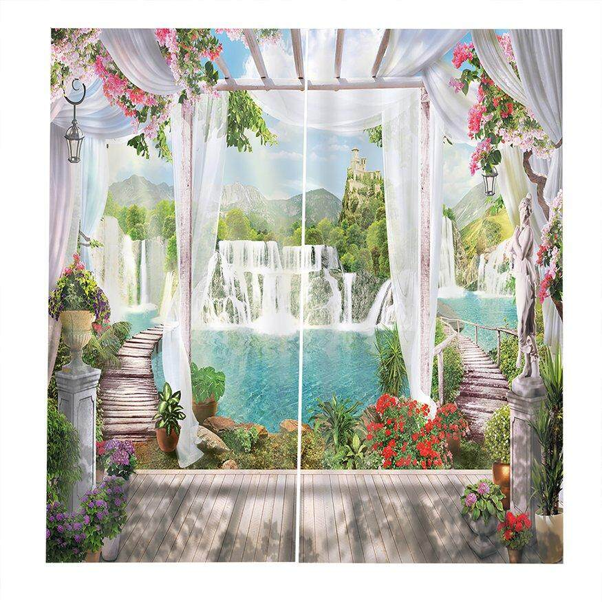 Top Deals Unique Window Side Lake Pattern Modern Design Curtain for Home Kitchen Living Room Bedroom Curtain for Window Decoration