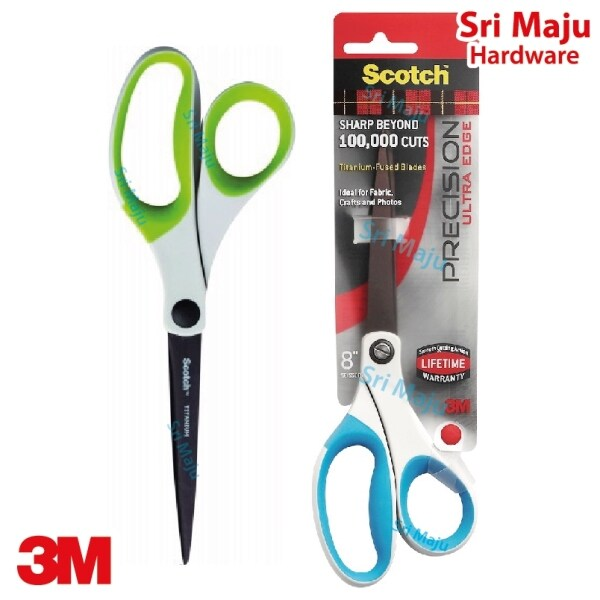 MAJU 3M Scotch 1458TU Precision Ultra Edge 8 Inch Scissor Gunting Tajam Titanium Blade for Home Office DIY 1458