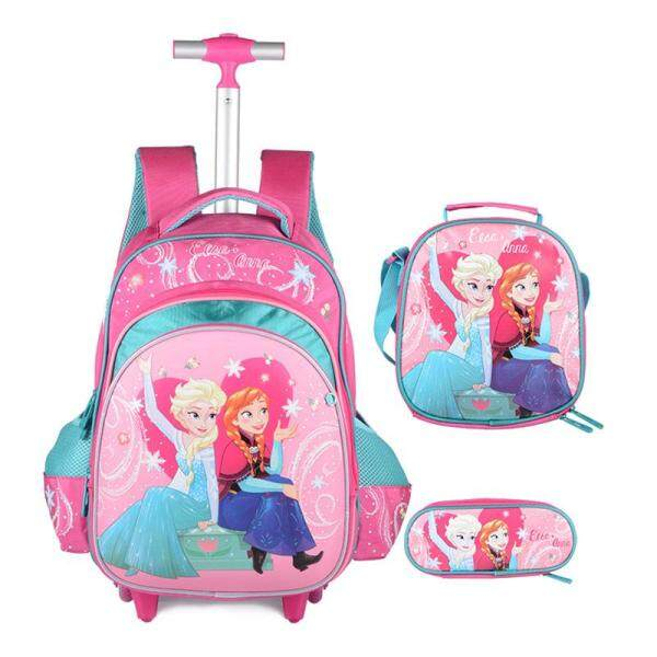 [Hely TOP] 3-piece Primary School Kids Girls Cartoon Princess Printed Trolley Backpack High Capacity Hard Shell Schoolbag Travelling Bag with Reflective Stripes