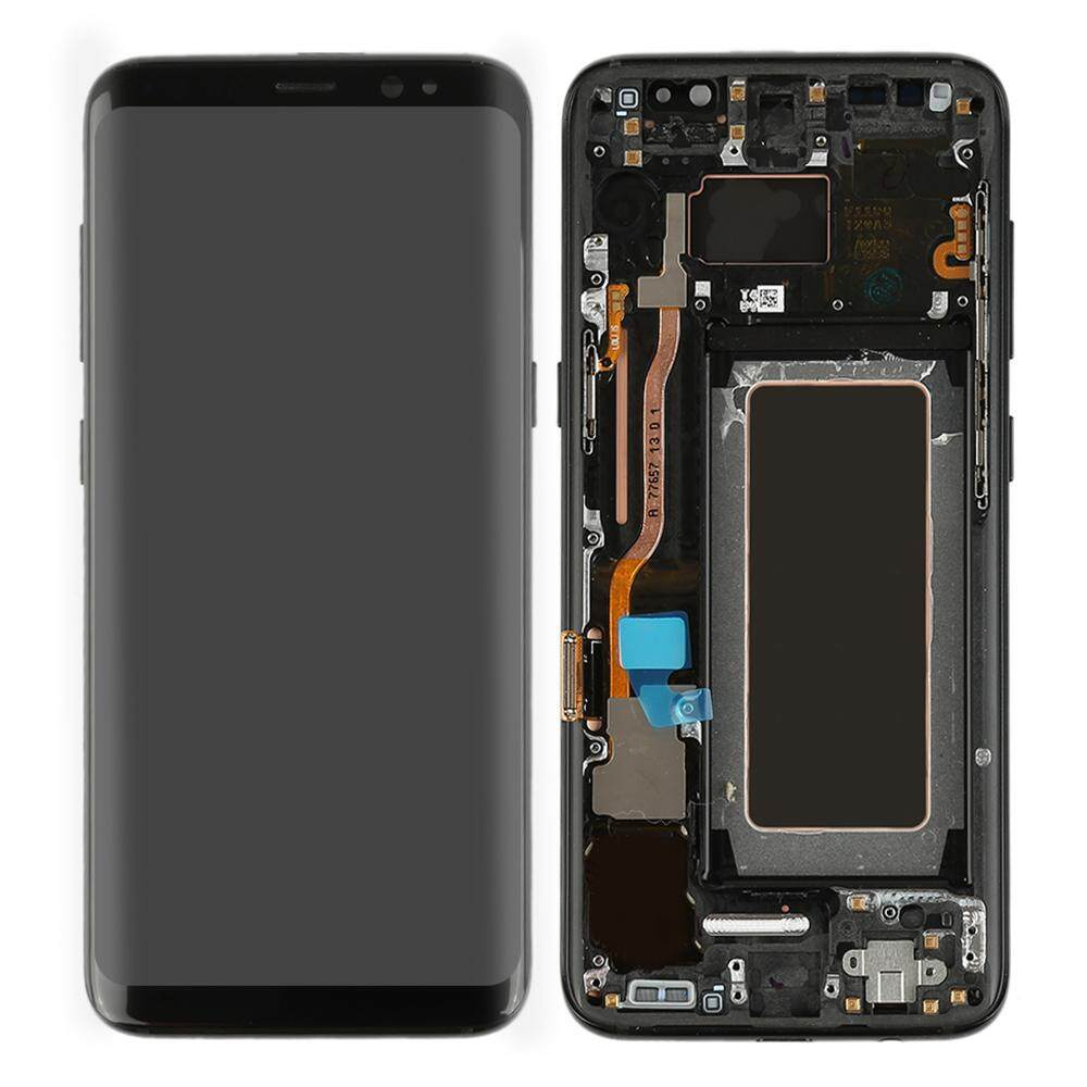 G950f LCD untuk Super AMOLED Samsung Galaxy S8 Tampilan G950 G950F Layar LCD Digitizer Suku Cadang Pengganti Frame Layar Sentuh untuk SAMSUNG S8 LCD