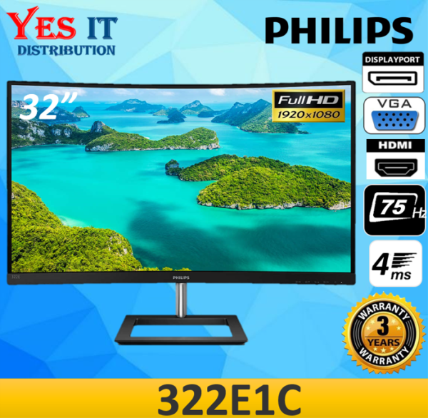 Philips 322E1C 31.5 VA Full HD Curved 75Hz 4ms Free-Sync LED Monitor ( VGA / HDMI / DP / AUXO ) Malaysia