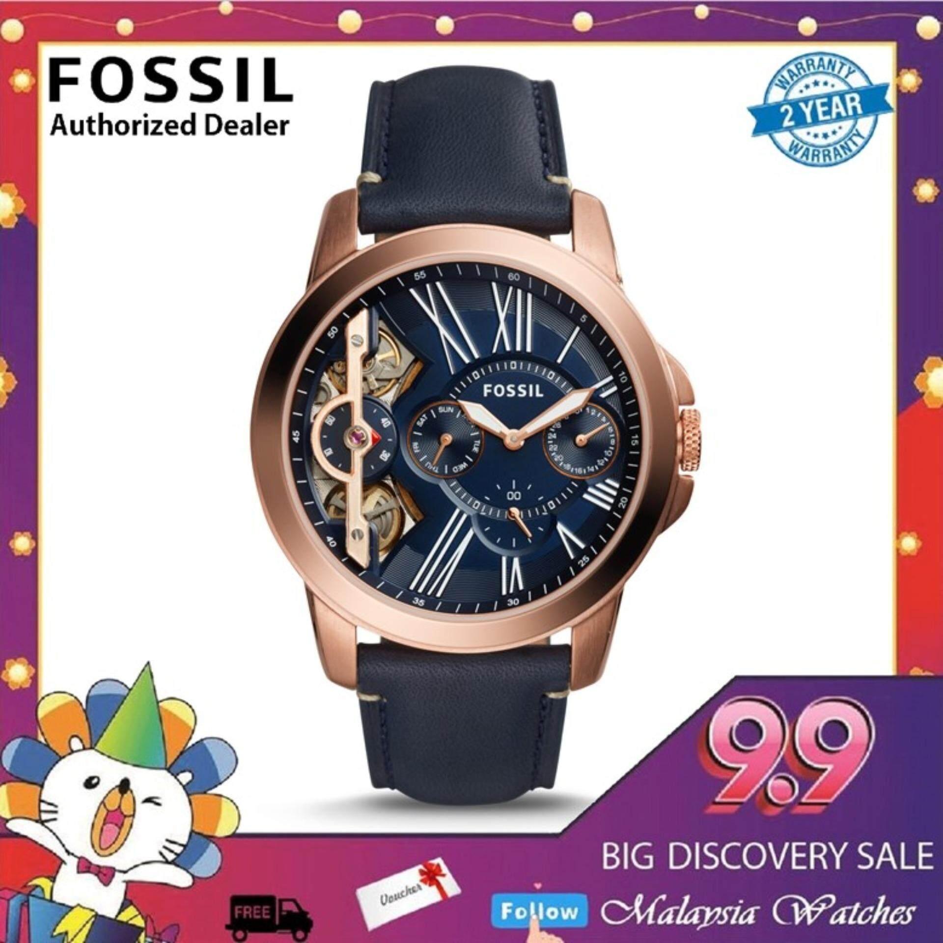 (OFFICIAL WARRANTY) Fossil Mens ME1162 Grant Quartz Twist Three-Hand Navy Blue Leather Strap Watch (2 Years International Warranty) Malaysia
