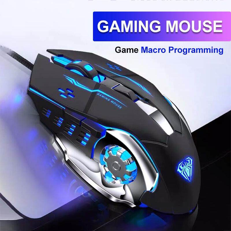 AULA Gaming Mouse Marco Programmable Cool Lighting USB Optical Mouse Gaming for PC Laptop-S20