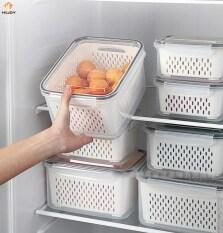 H & JOY Hộp Đựng Đồ Tủ Lạnh Hộp Sắp Xếp Nhà Bếp Tươi Cho Tủ Lạnh Hộp Đựng Rau Quả Giỏ Thoát Nước Hộp Đựng Đồ Nhà Bếp Có Nắp
