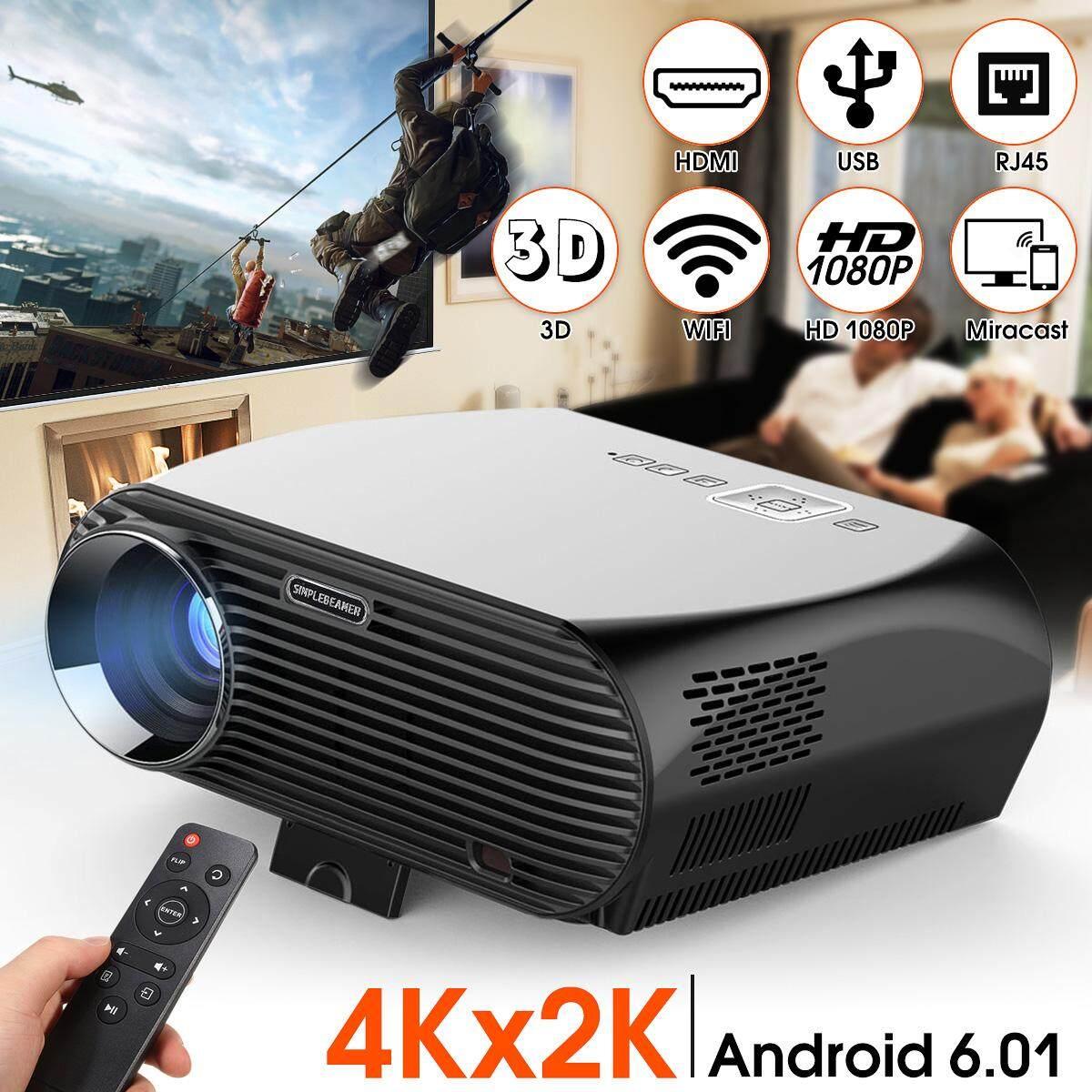 【Free Vận Chuyển + Đèn Flash Deal】LED LCD Máy Chiếu Gia Đình HỆ ĐIỀU HÀNH ANDROID 6.01 Wifi Bluetooth HD USB USB TV