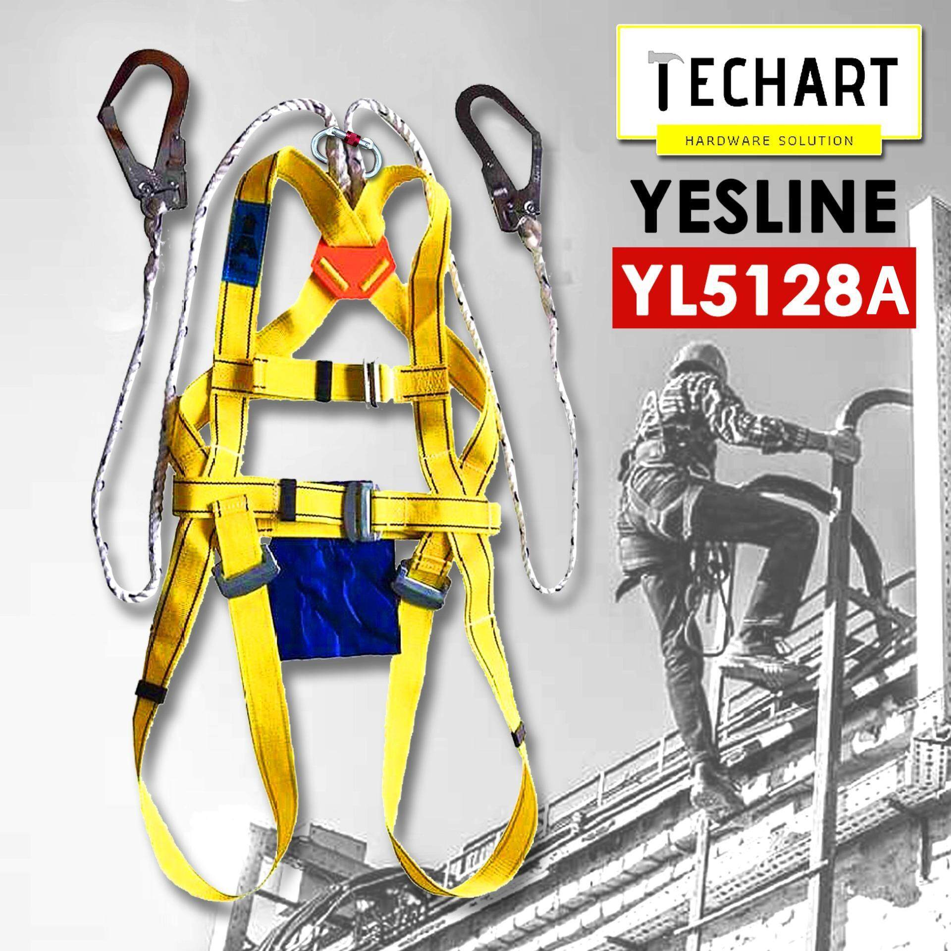 YESLINE YL5128A Full Body Harness Built-in 2 Lanyard & 2 Large Hook with 1 Carabiner
