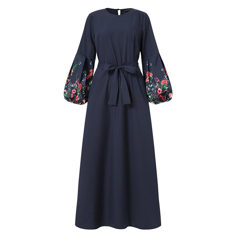 รีวิว MOMONACO ZANZEA Muslimah ผู้หญิงชุดคาฟทันมุสลิม Vintage Party ชุดงานพรอมดูไบแขนยาวเสื้อชุด