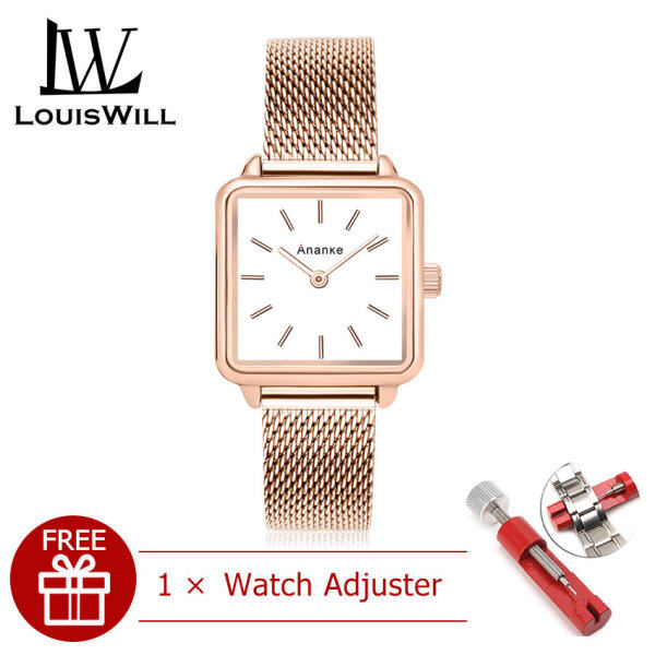 LouisWill Women Watches Fashion Watches Casuals Quartz Watches Square Dial Watches 30M Waterproof Watches Stainless Steel Mesh Strap Business Wristwatch Wristwatches for Women Malaysia