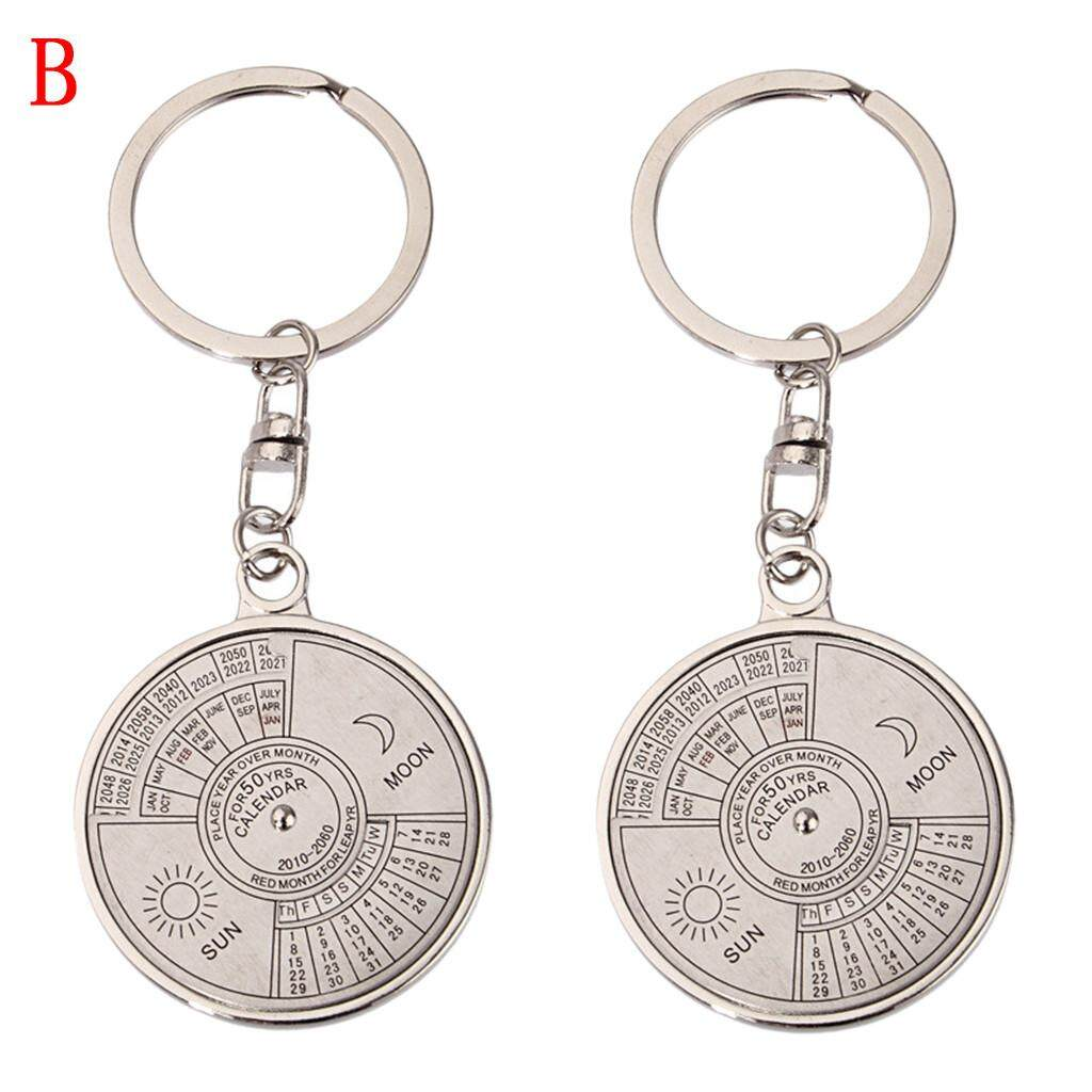2pcs 50 Years Perpetual Calendar Keyring Unique Compass Metal Keychain Gift By Grubbstore.