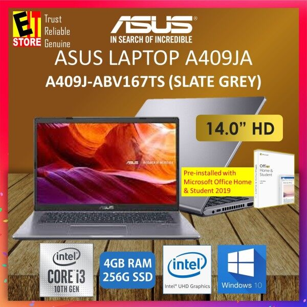 ASUS A409J-ABV167TS LAPTOP -SLATE GREY (I3-1005G1/4GB/256GB SSD/14HD/INTEL UHD/W10/2YRS) WITH MS.OFFICE HOME & STUDENT Malaysia