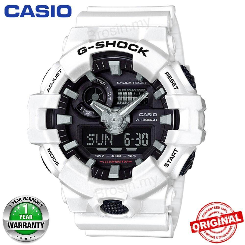(Ready Stock) Original Casio G Shock_GA-700-7A Men Sport Watch Duo W/Time 200M Water Resistant Shockproof and Waterproof World Time LED Auto Light Wist Sports Watch with 2 Year Warranty GA700/GA-700 Malaysia