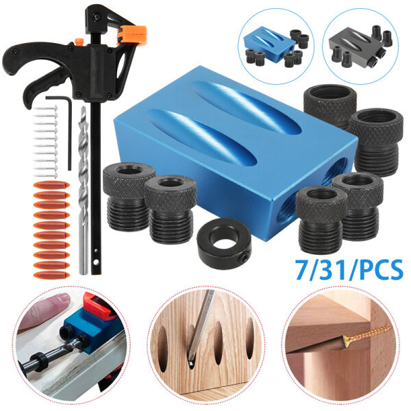 Woodworking Pocket Hole Jig Kit 6/8/10mm Angle Drill Guide Set Hole Puncher Locator Jig Drill Bit Set for DIY Carpentry Tools